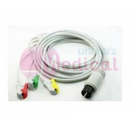 Câble ECG complet 3 fils pinces