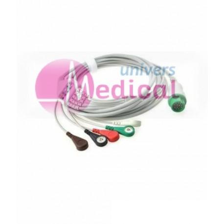 Câble ECG 5 fils SNAP 12 pins