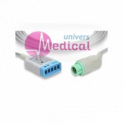 Câble ECG 5 fils P-Moniteur 12 pins